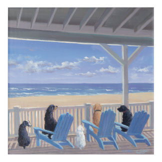Dogs on Deck Chairs Acrylic Wall Art