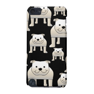 Dogs Pattern. White Bulldogs on Black. iPod Touch (5th Generation) Cover