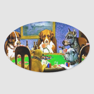 Dogs Playing a Game of Poker Oval Sticker