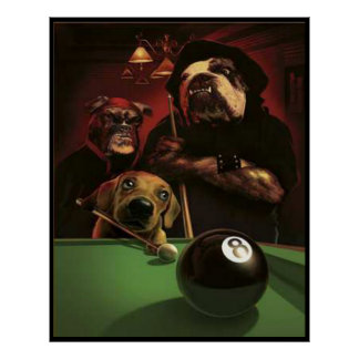 Dogs Playing Pool - The Eightball Posters