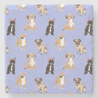 Dogs Vector Seamless Pattern Stone Coaster