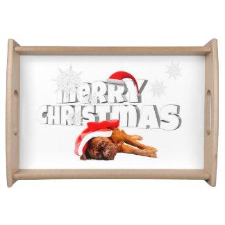 Dogue de Bordeaux dog Santa Hat Merry Christmas Serving Tray