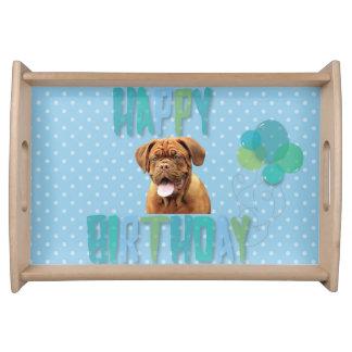Dogue De Bordeaux French Mastiff Happy Birthday Serving Tray