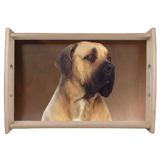 Dogue De Bordeaux Mastiff Dog Portrait Painting Serving Tray