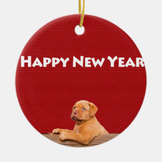 Dogue de Bordeaux wishing Happy New Year Christmas Ornament