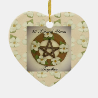 Dogwood Pentacle Wreath Anniversary Commemorative Christmas Ornament