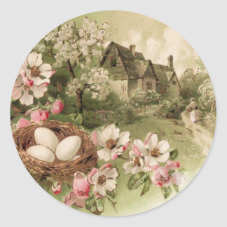 Dogwood Tree Bird Nest Egg Cottage Classic Round Sticker