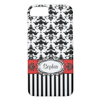 Dolce Vita Retro Red, Black and White Damask iPhone 7 Case