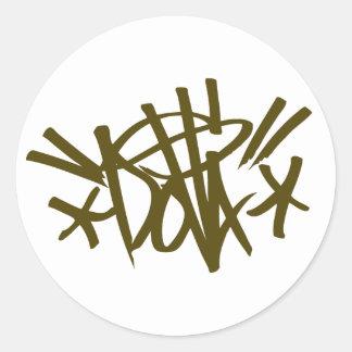dolla brown tag round sticker