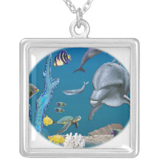 Dolphin art silver plated necklace
