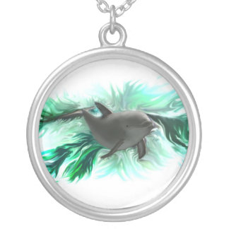 Dolphin baby silver plated necklace