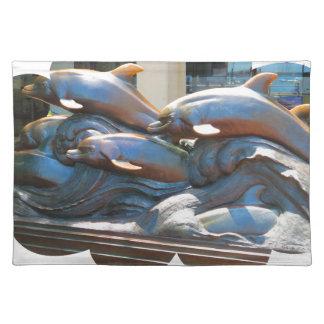 Dolphin Dance statue outside Boston Aquarium Placemat