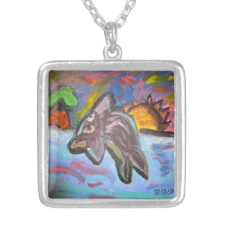 dolphin in sunset silver plated necklace
