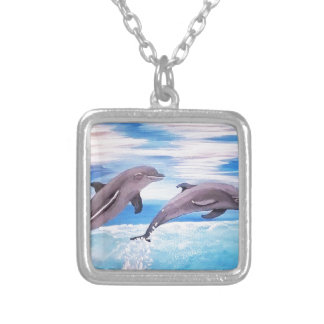 Dolphin Leap Silver Plated Necklace