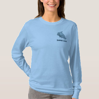 Dolphin Love Embroidered Long Sleeve T-Shirt