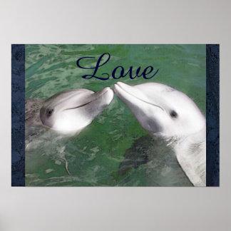 Dolphin Love Fish Water Marine Ocean Animal Cute Posters
