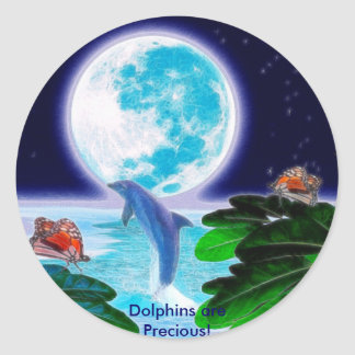 DOLPHIN MOON Paradise Art Series Classic Round Sticker
