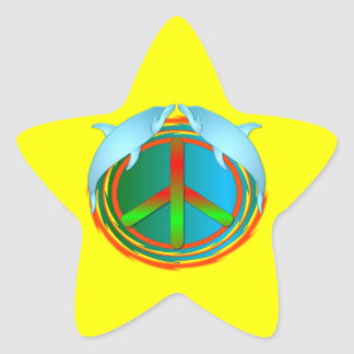 Dolphin Peace Star Sticker