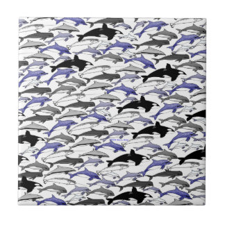 Dolphins and Orcas Swimming Pattern Small Square Tile