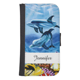 Dolphins and Tropical Fish Art Samsung S4 Wallet Case