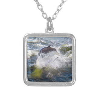 Dolphins Followings Boat Silver Plated Necklace