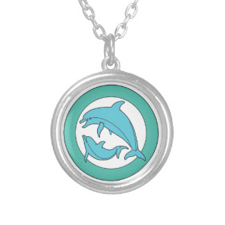 Dolphins hanger jewel silver plated necklace
