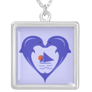 Dolphins Heart  Necklace