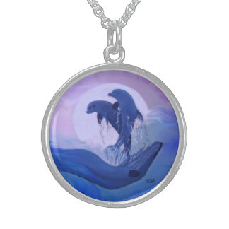 Dolphins in the moonlight sterling silver necklace