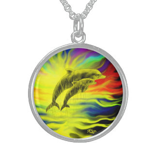 Dolphins in the sunshine sterling silver necklace