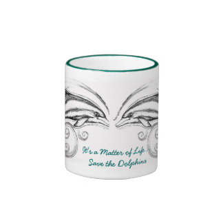 """Dolphins""""It's a Matter of Life"""" Green Ringer Mug"""