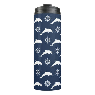 Dolphins On Parade Pattern Thermal Tumbler