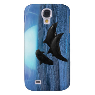 Dolphins playing at moonlight galaxy s4 case