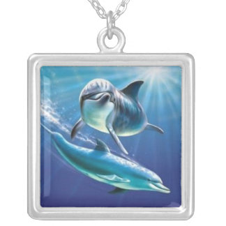 dolphins silver plated necklace