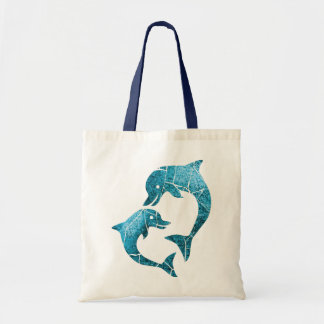 Dolphins Worn Blue Tote Bag