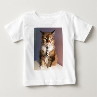 Domestic cat in a business Tie Baby T-Shirt