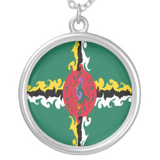 Dominica Gnarly Flag Round Pendant Necklace