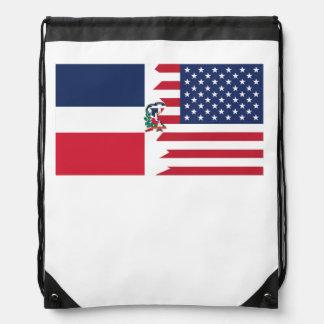 Dominican American Flag Drawstring Backpacks