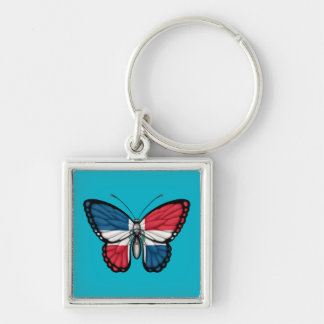 Dominican Republic Butterfly Flag Key Ring