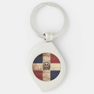 Dominican Republic Flag on Old Wood Grain Key Ring