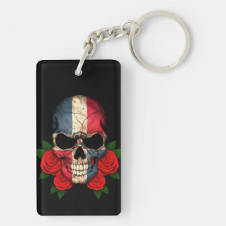 Dominican Republic Flag Skull with Red Roses Key Ring