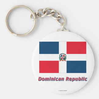 Dominican Republic Flag with Name Key Ring