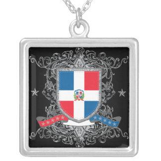 Dominican Republic Shield Silver Plated Necklace