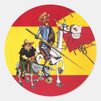 DON QUIJOTE&SANCHO - Windmill Spanish-flag Classic Round Sticker
