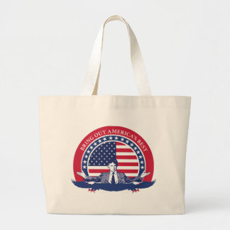 Donald Trump 2016 Flag with portrait Large Tote Bag