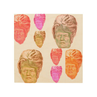 Donald Trump Beehive Wig Print on Birch Wood Wood Canvases