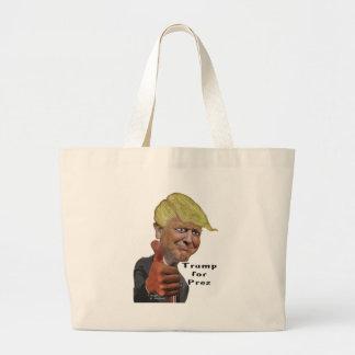 Donald Trump funny humorous product Trump for Prez Large Tote Bag