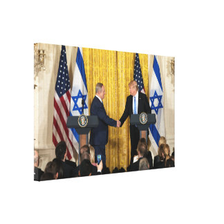 Donald Trump In Israel With Bibi Netanyahu Canvas Print