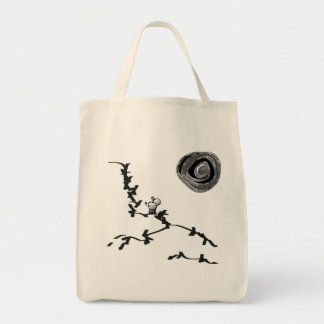 donkey looks at moon tote bag