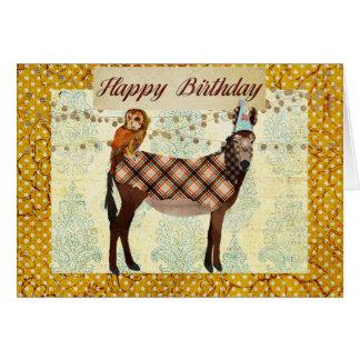 Donkey & Owl Birthday Card