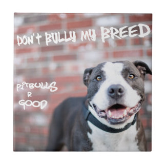 """Don't Bully My Breed"" Pit Bull Photo Tile"